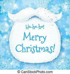 Santa's beard with Happy New Year sign on blue snowy background