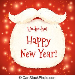 Santa's beard with Happy New Year sign on red shining background