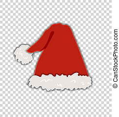 Vector Santa's Fluffy Hat Isolated on Transparent Background...