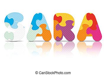 Vector SARA written with puzzle - SARA written with alphabet...