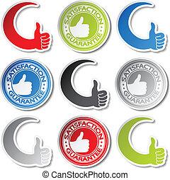 Vector satisfaction guarantee stickers - gesture hand