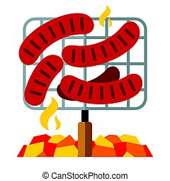 Vector Sausages on the grill. Flat style colorful Cartoon illustration.