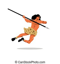 Vector Savage Cartoon Illustration. - Warrior jumps with a...