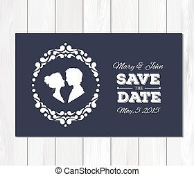 Vector save the date wedding invitation with profile silhouettes