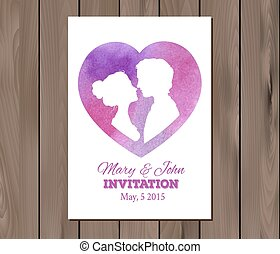 Vector save the date wedding invitation with watercolor elements
