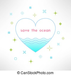 Vector save the ocean background in modern flat design. Sea ecology design element
