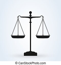Vector scales Icon, isolated on white bacground. Scales of Justice