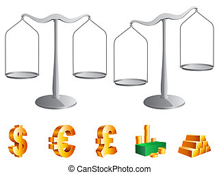 Vector scales. - Vector scales and money icons, isolated on...