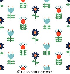 Vector Scandinavian folk art seamless pattern background, floral navy blue repetitive design, Nordic ornament with flowers. Retro style decoration, Scandi endless background perfect for textile design, greeting