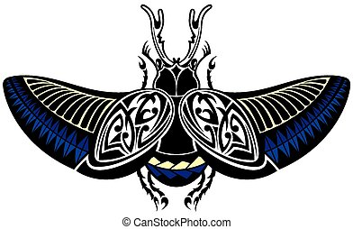 Vector scarab beetle, tattoo style