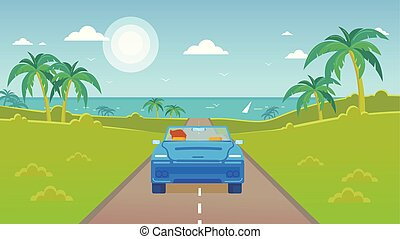 Vector scene of the road to the sea