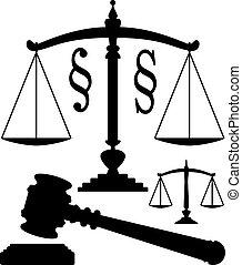 vector, schalen van gerechtigheid, gavel, en, paragraaf, symbolen