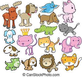 vector, schattig, communie, ontwerp, dier