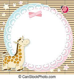 vector, schattig, giraffe, achtergrond