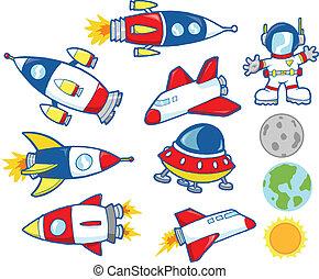 vector, schattig, set, buitenste ruimte
