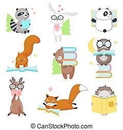 vector, schattig, set, dieren, boekjes , wild, lezende , pictogram