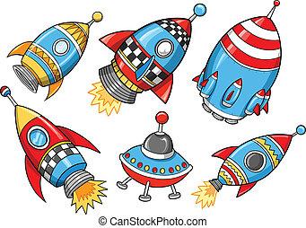 vector, schattig, set, fantastisch, raket