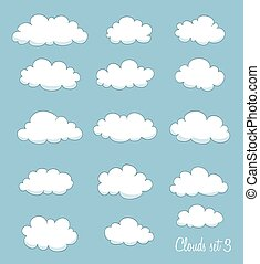 vector, schattig, set, spotprent, clouds.