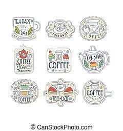 vector, schattig, stijl, set, winkel, thee, weg, etiketten, vrijstaand, hand, straat, koffie, nemen, store., getrokken, lijn, koffiehuis, lettering., of, bar.