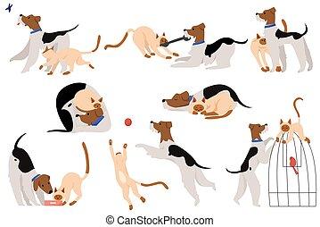 vector, schattig, vriendschap, spotprent, momenten, kat, karakter, set, illustratie, touchable, dog, plat