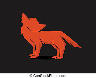 red fox - vector schematic silhouette red fox