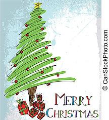 vector, schets, boom., kerstmis, illustratie