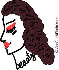 vector, schets, bovenkant, mooi gezicht, vrouw, kleur, of, illustratie