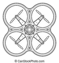 vector, schets, quadcopter, neuriën, illustratie