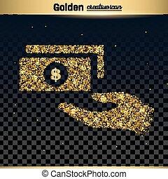 vector, schitteren, goud, pictogram