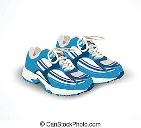 vector, schoentjes, sneakers., sportende, illustratie