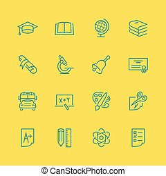 Vector school and education icon set, thin line style