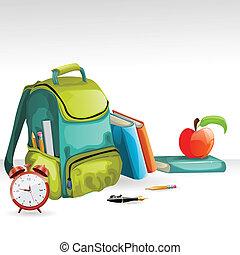 Vector school bag, books, pancil, apple and alarm clock