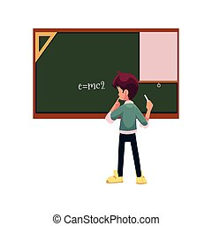 vector school boy stands at blackboard isolated