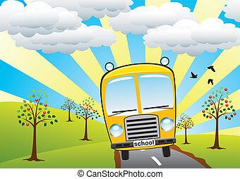 school bus and retro landscape