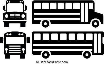 vector school bus icons