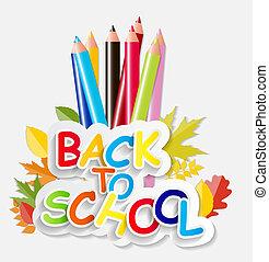 vector, school, concept, back, illustratie
