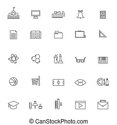 vector School education icon collection  on white background