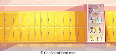 Vector school hallway with showcase for trophies