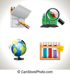 Vector school icons. Part 3 - Set of the school and ...