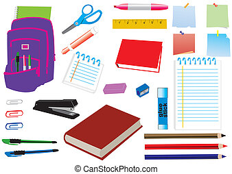 school supplies - vector school supplies