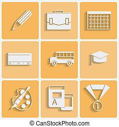 Vector school theme icons set