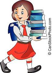 vector, schoolgirl, books., verdragend, stapel