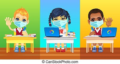 European, asian and african schoolkids in protective masks and school uniforms sitting at school desk during coronavirus COVID-19 quarantine