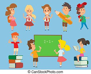 Vector schoolkids study back to school childhood happy primary education school young character illustration. School kids education and happy study at primary school preschool classroom