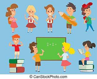 Vector schoolkids study back to school childhood happy primary education school young character illustration. School kids education and happy study at primary school preschool classroom