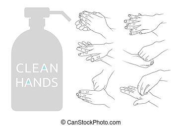 vector, schoonmaken, illustratie, handen