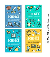 Vector Science Research Flyer Banner Posters Card Set Template.