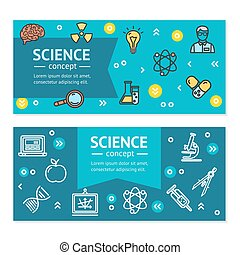 Vector Science Research Horizontal Banners Posters Card Set Template.