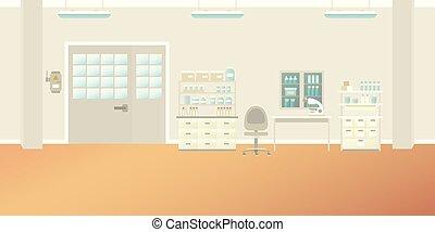 Vector scientific laboratory interior empty scene in flat style