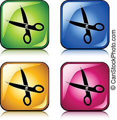 vector scissors buttons